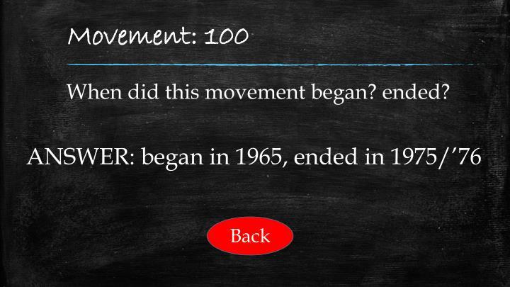 Movement: 100