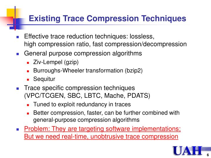 Existing Trace Compression Techniques