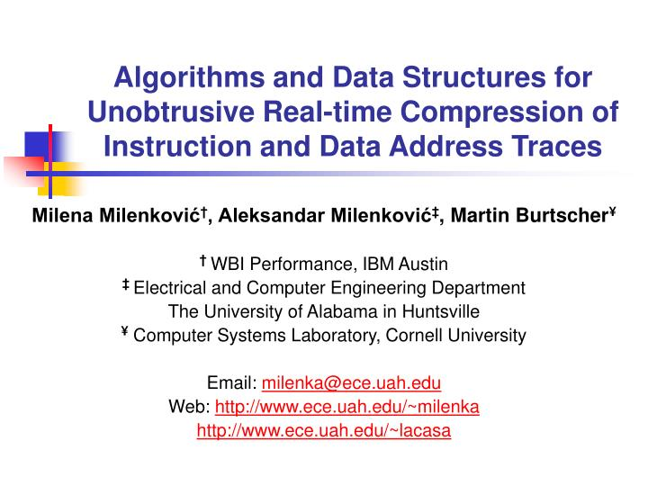 Algorithms and Data Structures for