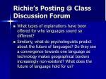 richie s posting @ class discussion forum