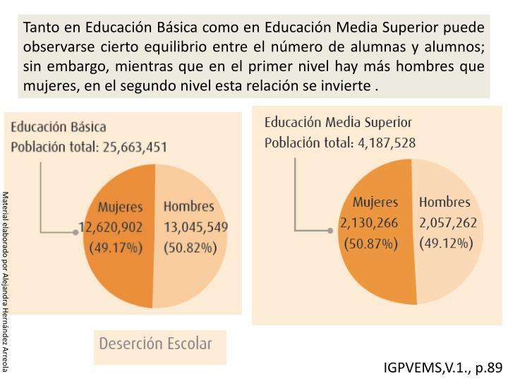 Tanto en Educación Básica como en Educación Media Superior puede observarse cierto equilibrio entre el número de alumnas y alumnos; sin embargo, mientras que en el primer nivel hay más hombres que mujeres, en el segundo nivel esta relación se invierte .