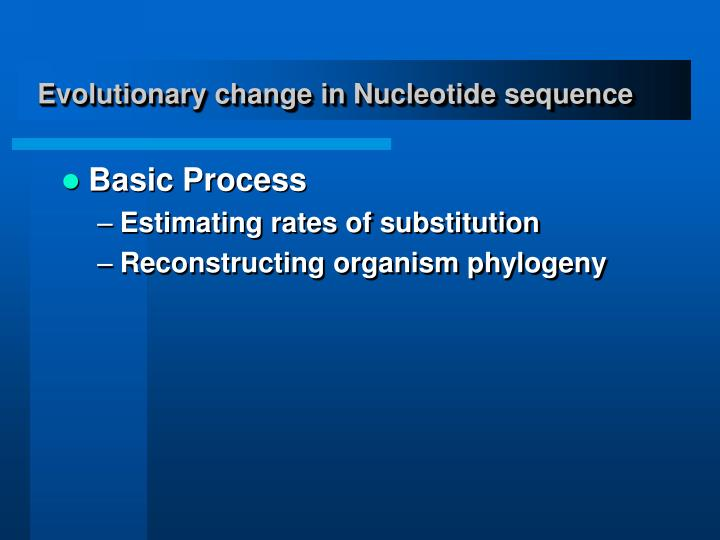 Evolutionary change in Nucleotide sequence