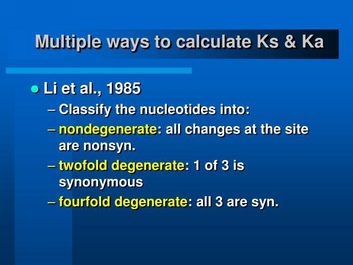 Multiple ways to calculate Ks & Ka