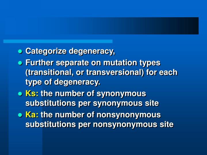 Categorize degeneracy,