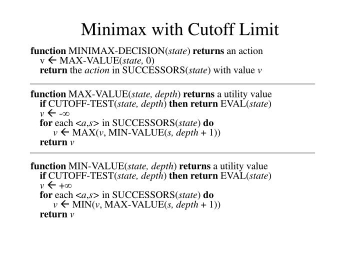 Minimax with Cutoff Limit