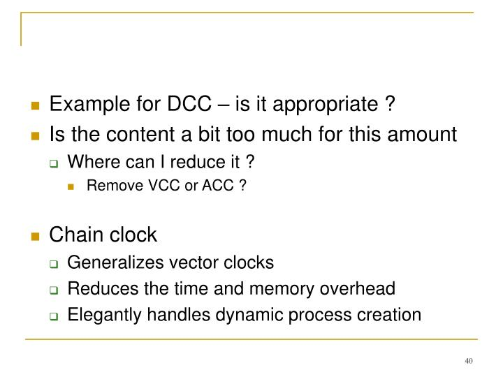 Example for DCC – is it appropriate ?