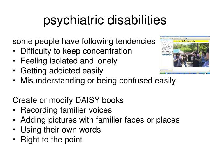 psychiatric disabilities