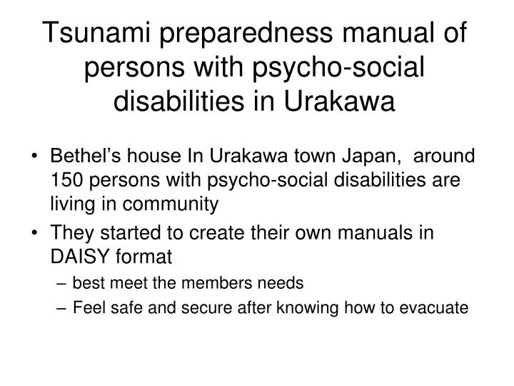 Tsunami preparedness manual of persons with psycho-social disabilities in Urakawa