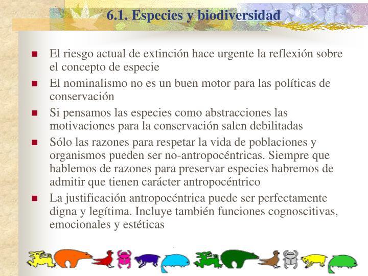6.1. Especies y biodiversidad