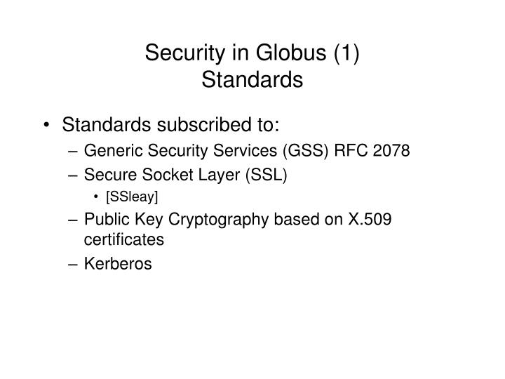 Security in Globus (1)