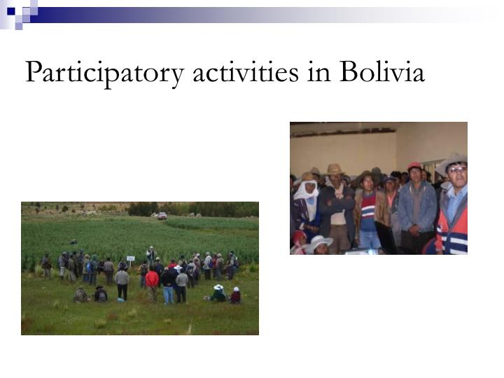 Participatory activities in Bolivia