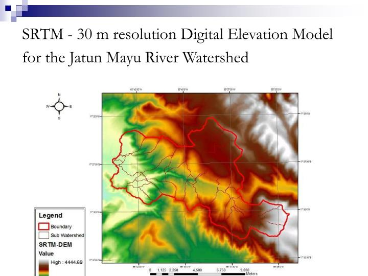SRTM - 30 m resolution Digital Elevation Model for the Jatun Mayu River Watershed
