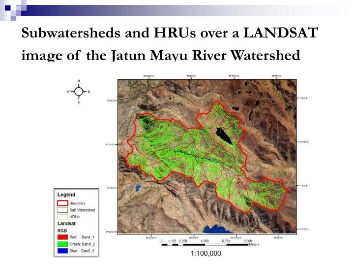 Subwatersheds and HRUs over a LANDSAT image of the Jatun Mayu River Watershed