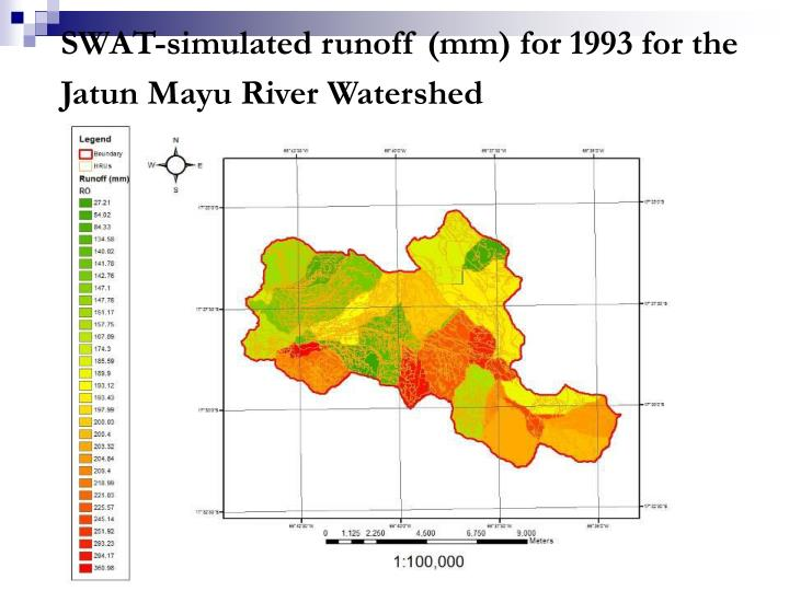 SWAT-simulated runoff (mm) for 1993 for the Jatun Mayu River Watershed
