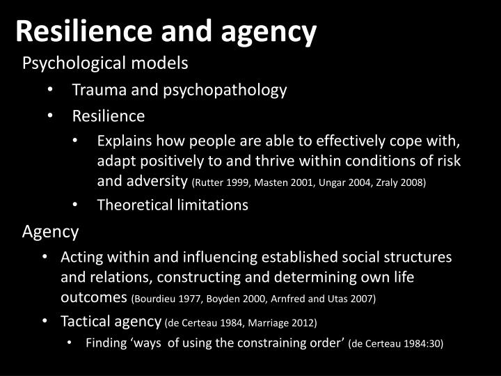 Resilience and agency
