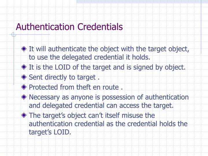 Authentication Credentials