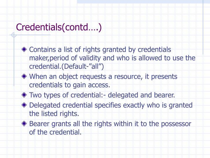 Credentials(contd….)