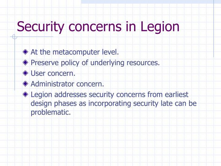 Security concerns in Legion
