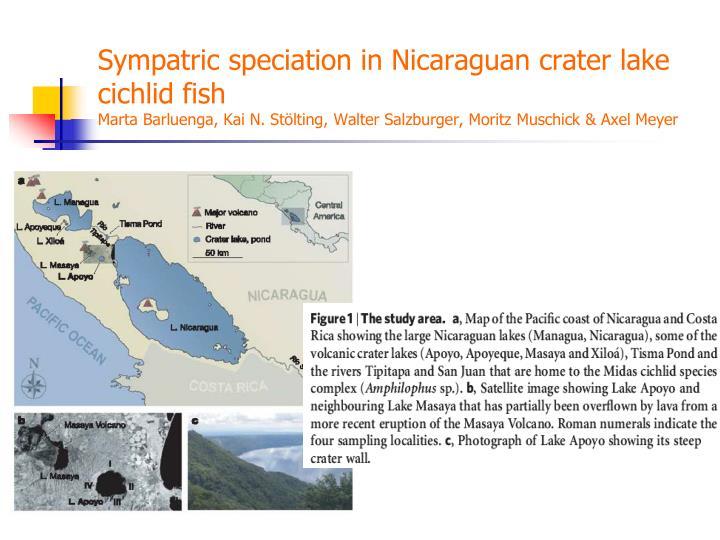 Sympatric speciation in Nicaraguan crater lake