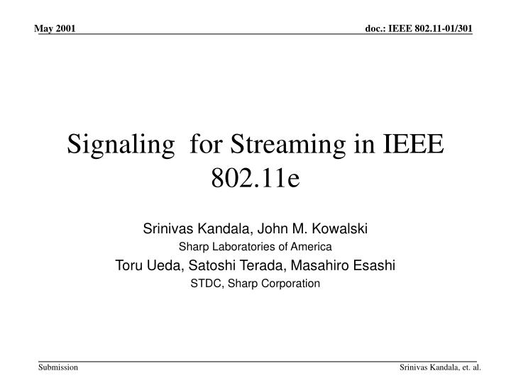 signaling for streaming in ieee 802 11e n.
