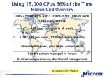 using 15 000 cpus 66 of the time micron grid overview