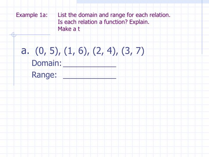 Example 1a: 	List the domain and range for each relation.