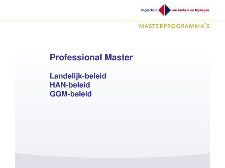 Professional Master