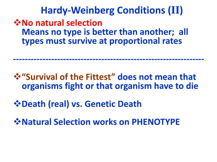 Hardy-Weinberg Conditions (