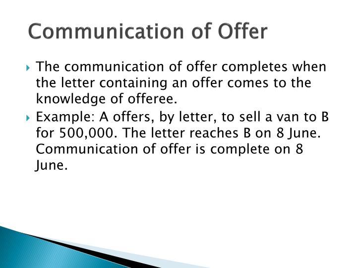 Communication of Offer