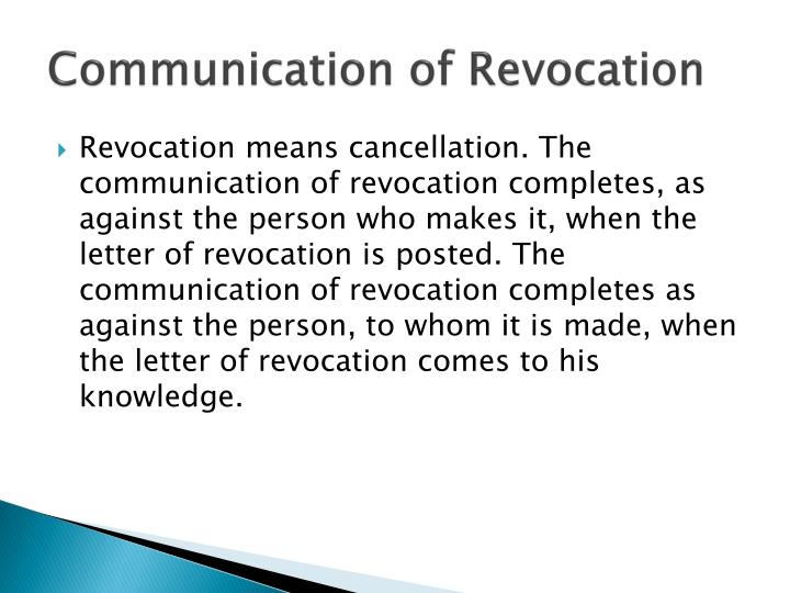 Communication of Revocation