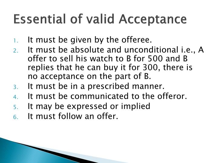 Essential of valid Acceptance
