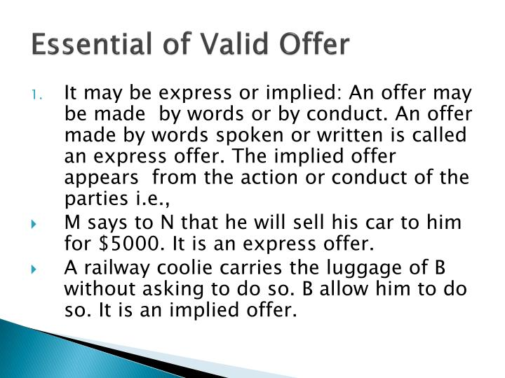 Essential of valid offer