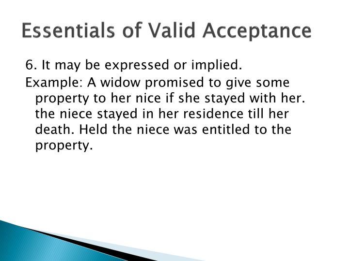 Essentials of Valid Acceptance