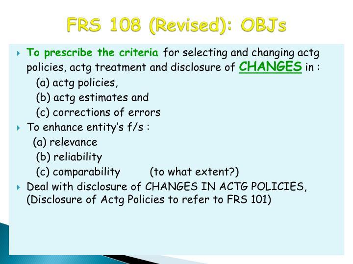 FRS 108 (Revised): OBJs
