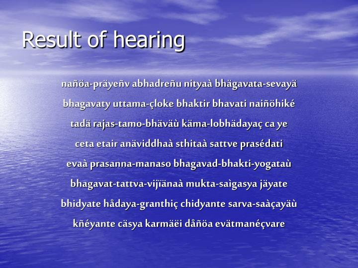 Result of hearing