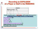 recording an expulsion of a player or staff in the remarks
