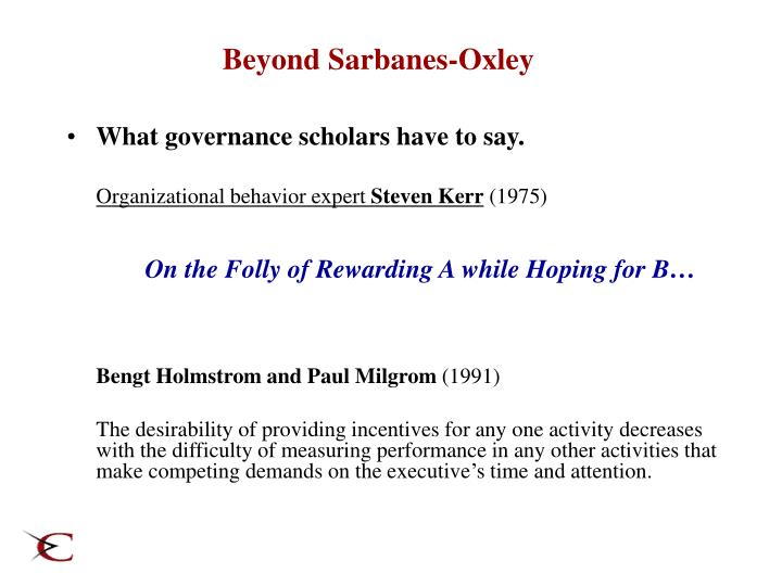 Beyond Sarbanes-Oxley