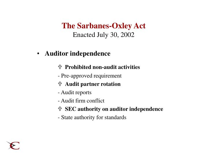 The Sarbanes-Oxley Act
