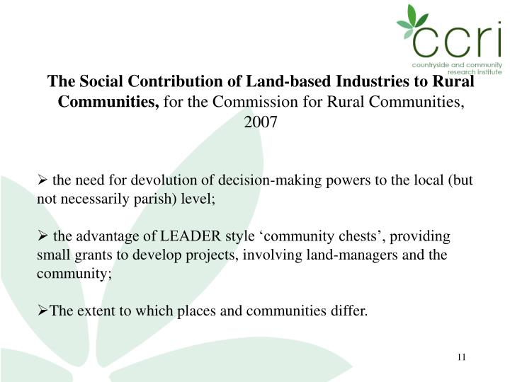 The Social Contribution of Land-based Industries to Rural