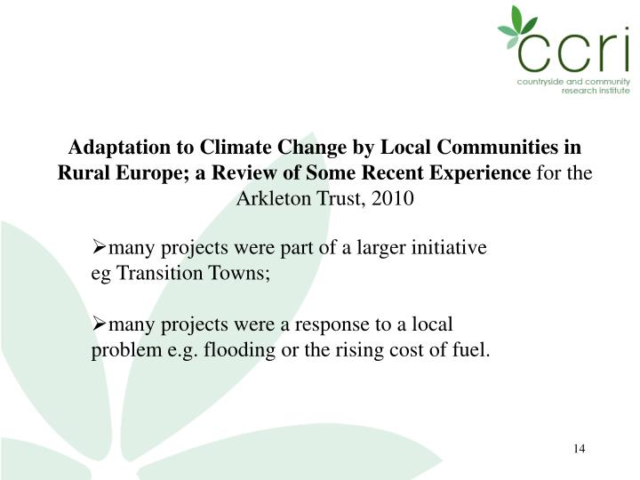 Adaptation to Climate Change by Local Communities in