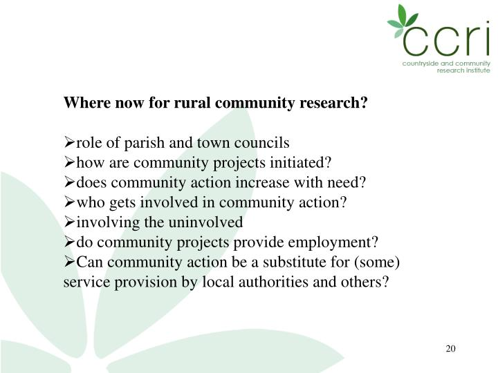 Where now for rural community research?