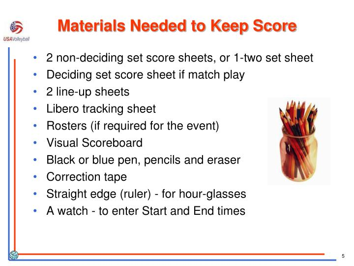 Materials Needed to Keep Score