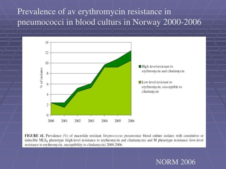 Prevalence of av erythromycin resistance in pneumococci in blood culturs in Norway 2000-2006