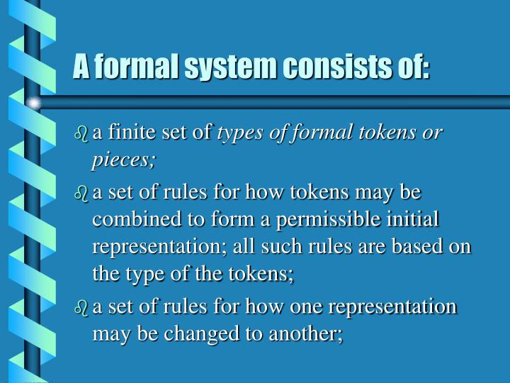 A formal system consists of: