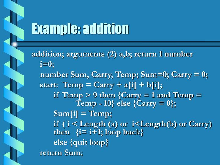 Example: addition