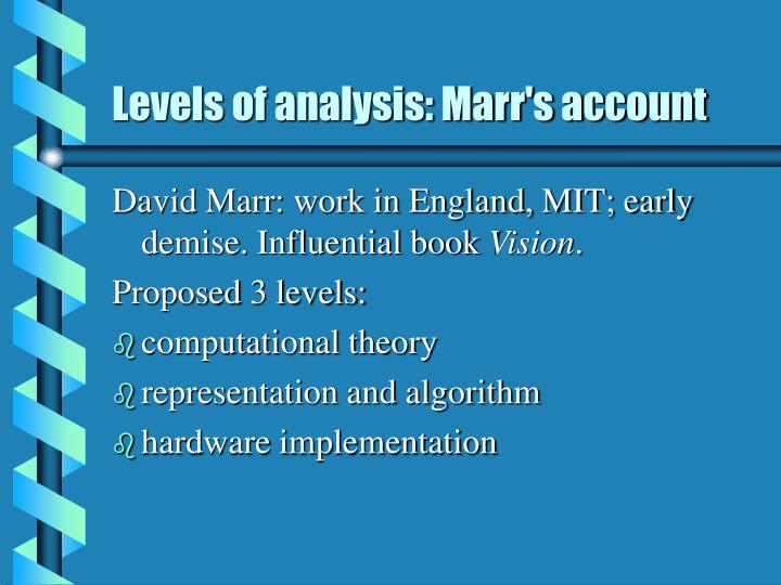 Levels of analysis: Marr's account