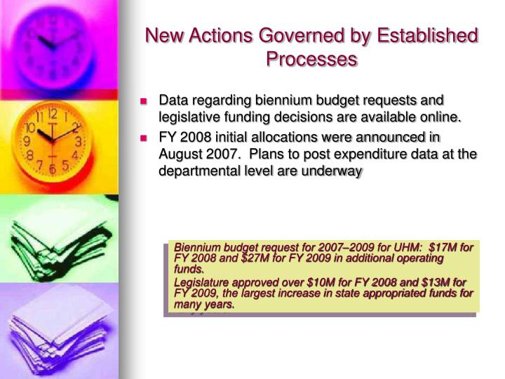 New Actions Governed by Established Processes