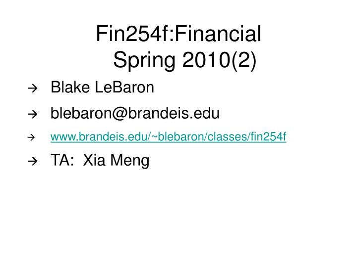 Fin254f financial spring 2010 2