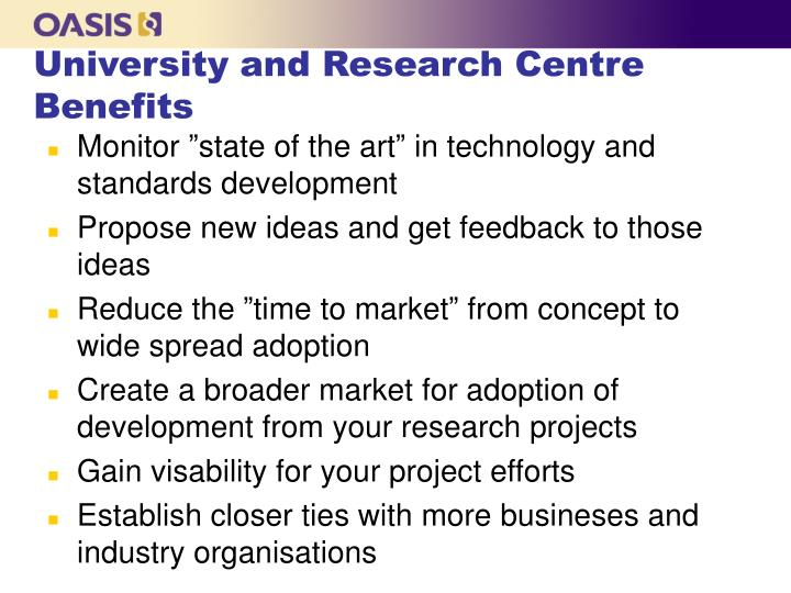 University and Research Centre Benefits