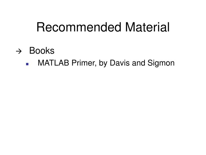 Recommended Material